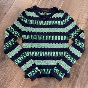 Crewneck Long Sleeve Zig Zag Pattern Sweater Top